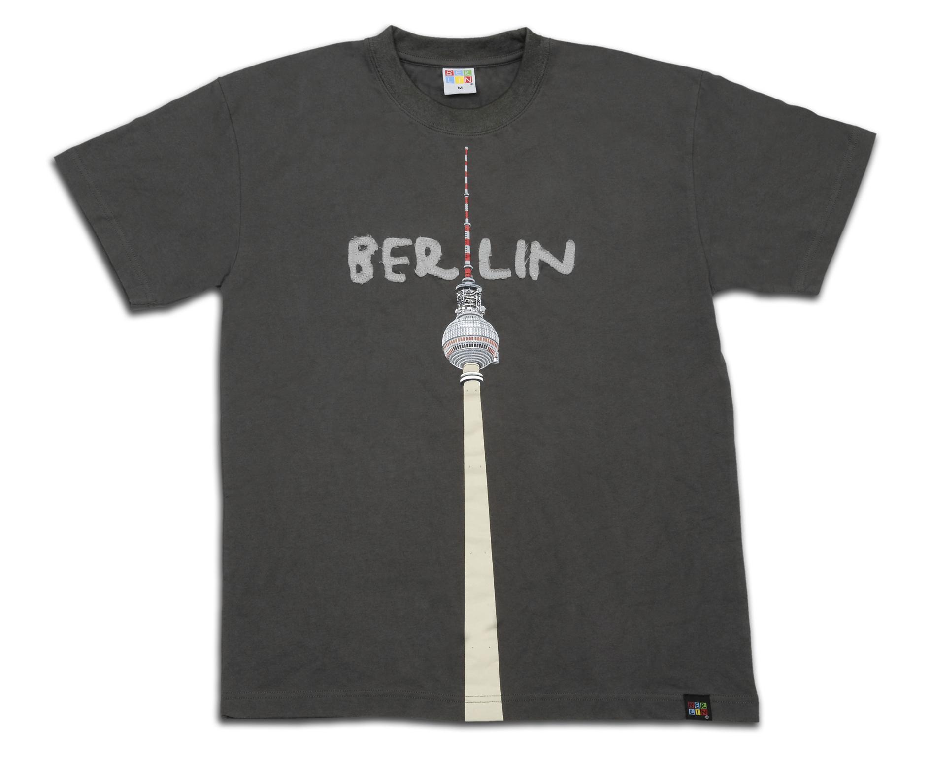 010-0071 T-Shirt Patch mit TV-Turm dunkelgrau