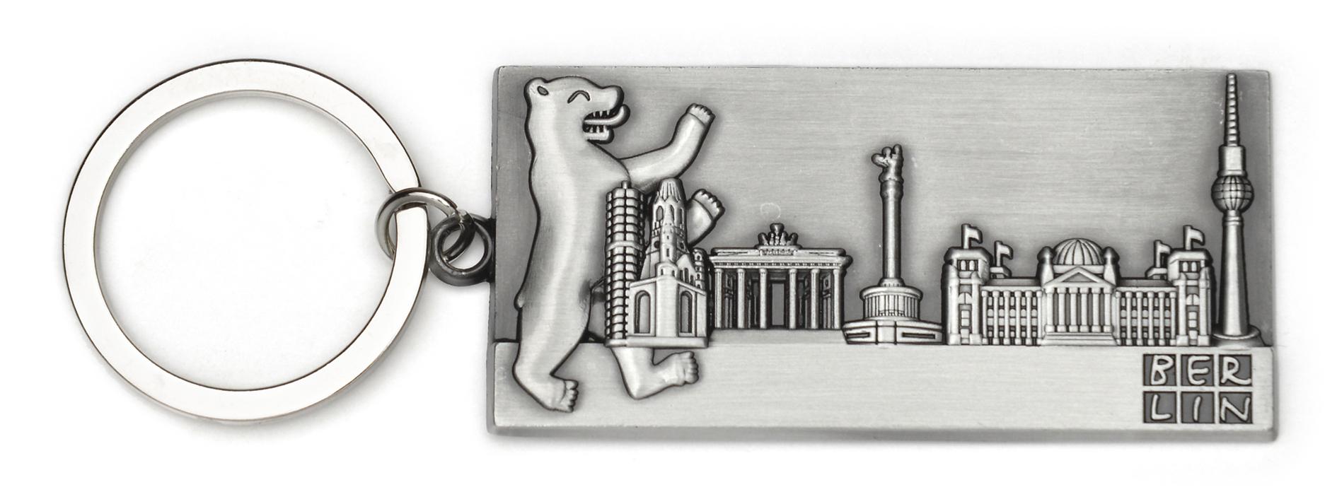 050-1029 Schlüsselanhänger BERLIN Metall Bär & Skyline