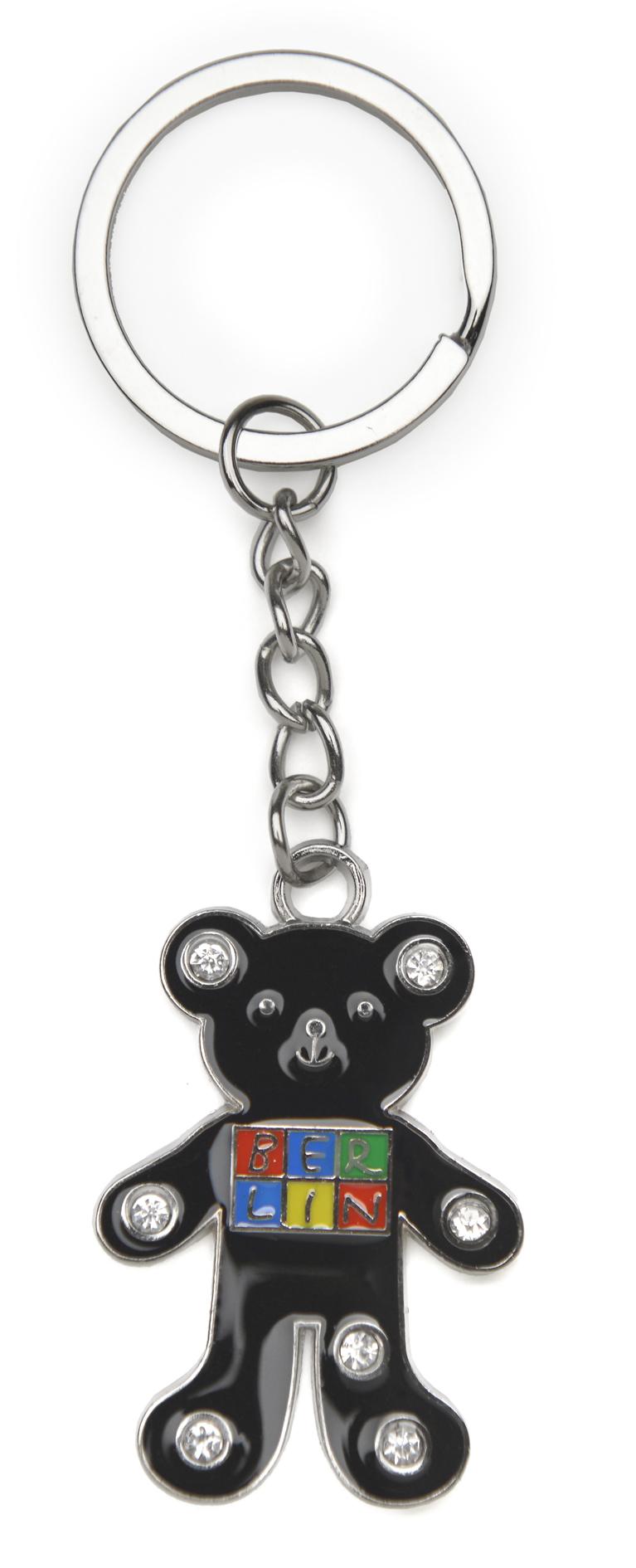 050-1028 Schlüsselanhänger BERLIN Metall schwarzer Bär